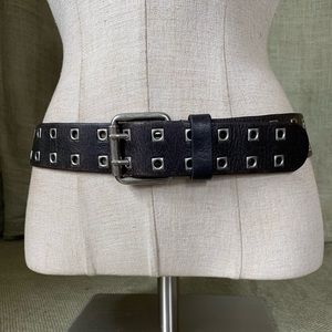 Express Italian leather double riveted belt